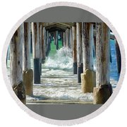Round Beach Towel featuring the photograph Below The Pier by Brian Eberly