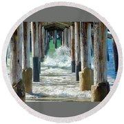 Below The Pier Round Beach Towel