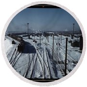 Belt Railway, Looking Toward The West Yard Of Clearing Yard, Taken From Bridge Of The Hump, Chicago, Round Beach Towel