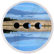 Belvelly Castle Reflection Round Beach Towel