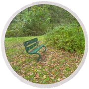 Bench Overlooking Pine Quarry Round Beach Towel