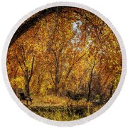 Bench With Autumn Leaves  Round Beach Towel