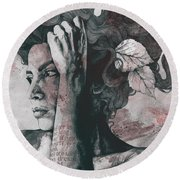 Beneath Broken Earth - Red Wine - Street Art Drawing, Woman With Leaves And Tattoos Round Beach Towel
