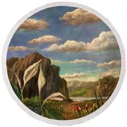 Beneath The Clouds Of Africa Round Beach Towel
