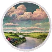 Beneath The Clouds Of Paradise Round Beach Towel