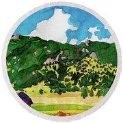 Round Beach Towel featuring the painting Bergen Peak Summer Watercolor by Dan Miller