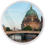 Berliner Dom And River Spree In Berlin Round Beach Towel