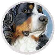 Round Beach Towel featuring the mixed media Bernese Arctic Blue by Donna Mulley
