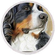 Round Beach Towel featuring the mixed media Bernese Old Gold by Donna Mulley