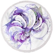 Beyond Abstraction Purple Round Beach Towel