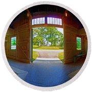 Round Beach Towel featuring the photograph Big Barn Kentucky Horse Park 360 by Tom Jelen
