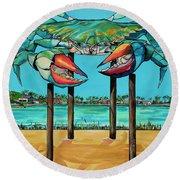 Big Blue Crab Rockport Round Beach Towel