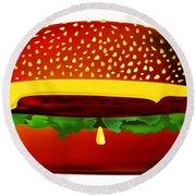 Big Burger Round Beach Towel