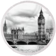 Big Clock In London Soft Round Beach Towel