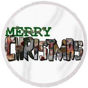 Big Letter Merry Christmas Round Beach Towel