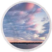 Big Sky Over Portsmouth Light. Round Beach Towel