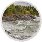Big Waves In Autumn Round Beach Towel