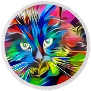 Big Whiskers Cat Round Beach Towel