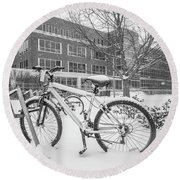 Bike And Msu Library  Round Beach Towel