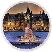 Biltmore Christmas Night All Covered In Snow Round Beach Towel