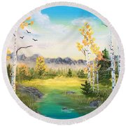 Birches By The Creek Round Beach Towel