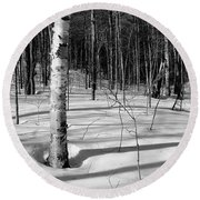 Birch Shadow. Round Beach Towel