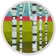 Birches With Pink And Green Round Beach Towel