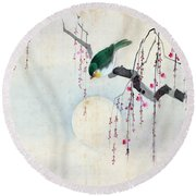 Bird And Moon Round Beach Towel