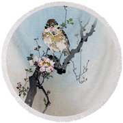 Bird And Petal Round Beach Towel