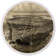 Bird's-eye View Of New York City 1851  Round Beach Towel