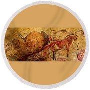 Bison Horse And Other Animals Closer - Narrow Version Round Beach Towel