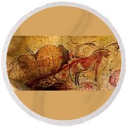 Bisons Horses And Other Animals Closer Round Beach Towel