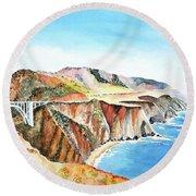 Bixby Bridge 3 Big Sur California Coast Round Beach Towel