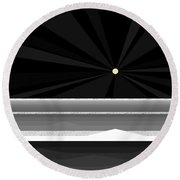 Black And White Abstract Sea Round Beach Towel