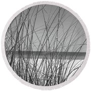 Black And White Beach View Round Beach Towel