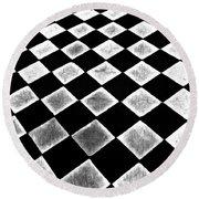 Black And White Floor Tile Round Beach Towel