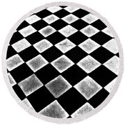 Black And White Floor Tile Round Beach Towel