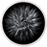 Black And White Flower Flow No 5 Round Beach Towel