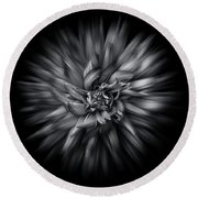 Black And White Flower Flow No 5 Round Beach Towel