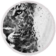 Black And White Half Faced Leopard Round Beach Towel