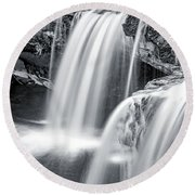 Round Beach Towel featuring the photograph Black And White Ludlow Falls by Dan Sproul