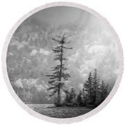 Round Beach Towel featuring the photograph Black And White Moody Morning Moosehead Lake by Dan Sproul