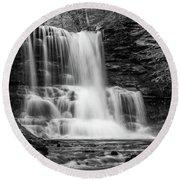 Black And White Photo Of Sheldon Reynolds Waterfalls Round Beach Towel