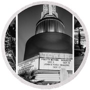 Black And White Triptych- Round Beach Towel