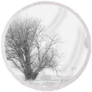 Round Beach Towel featuring the photograph Black And White Windmill 01 by Rob Graham