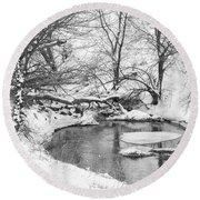 Round Beach Towel featuring the photograph Black And White Winter 01 by Rob Graham