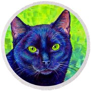 Black Cat With Chartreuse Eyes Round Beach Towel