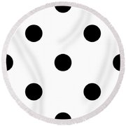 Black Dots On A White Background- Ddh610 Round Beach Towel