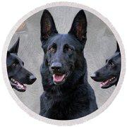 Black German Shepherd Dog Collage Round Beach Towel