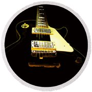 Black Guitar With Gold Accents Round Beach Towel